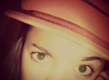 girl, eyes, green, hat, cool