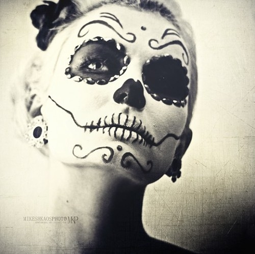 ... black, black and white, face paint, girl, paint, skull, white, white Sugar Skulls Face Paint Black And White