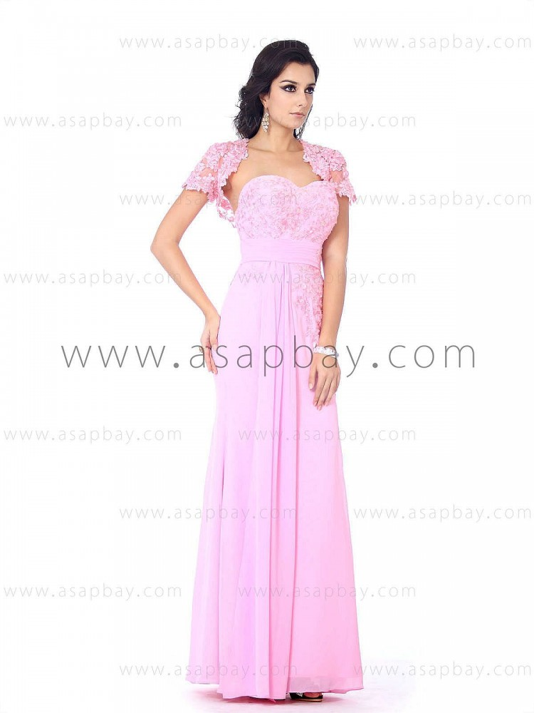 girl fashion cute lace flowers sweetheart floor length draped pink chiffon evening dress