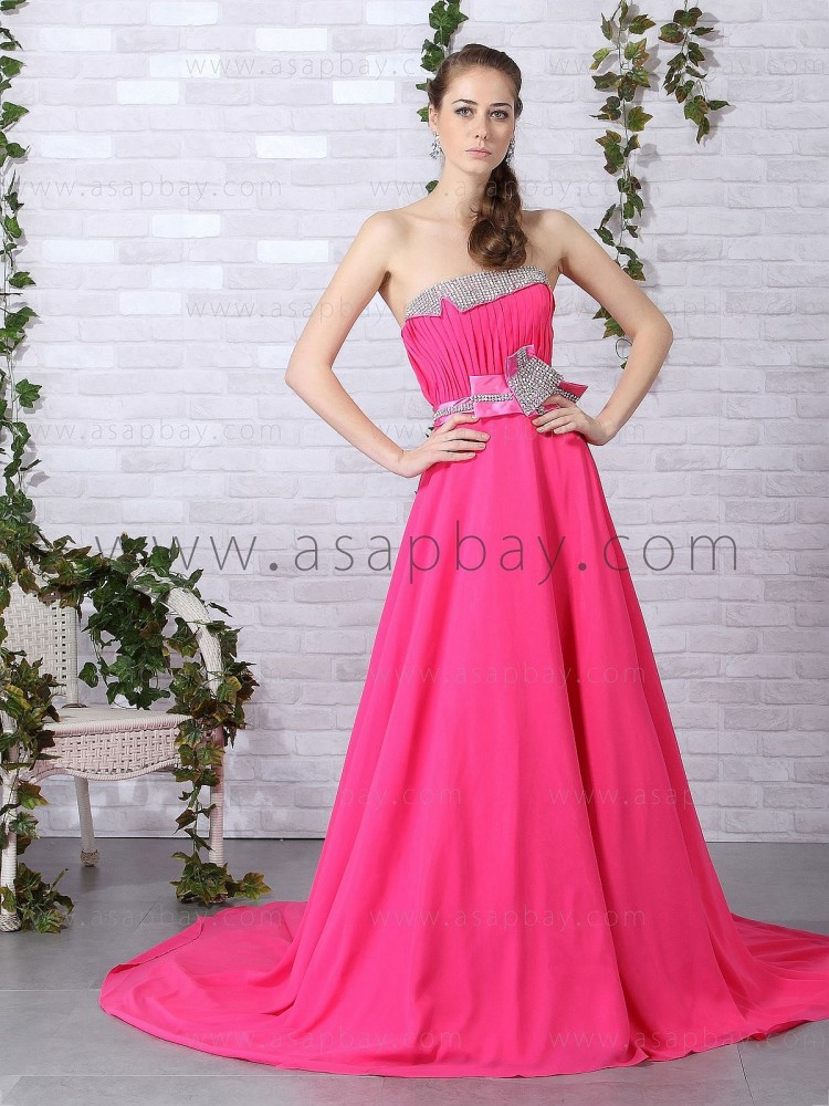 girl fashion gorgeous chiffon strapless sweep/brush train pink a line evening dress