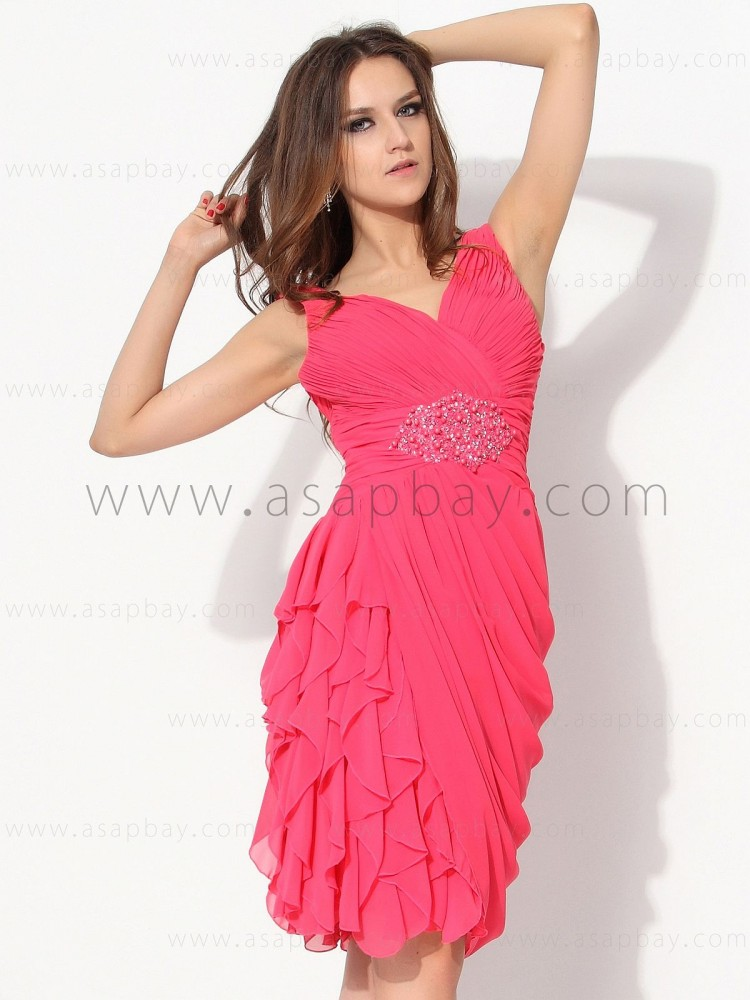 girl fashion romantic gorgeous asapbay chiffon v neck knee length 2013 cocktail dress
