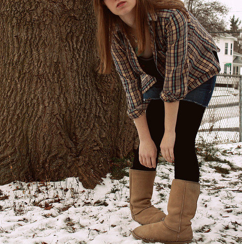 girl, hair, hands, plaid, uggs