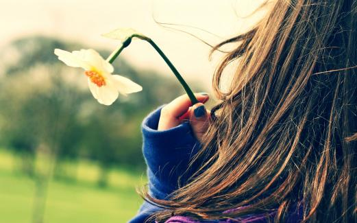 girl, hair, manicure, a flower, the mood