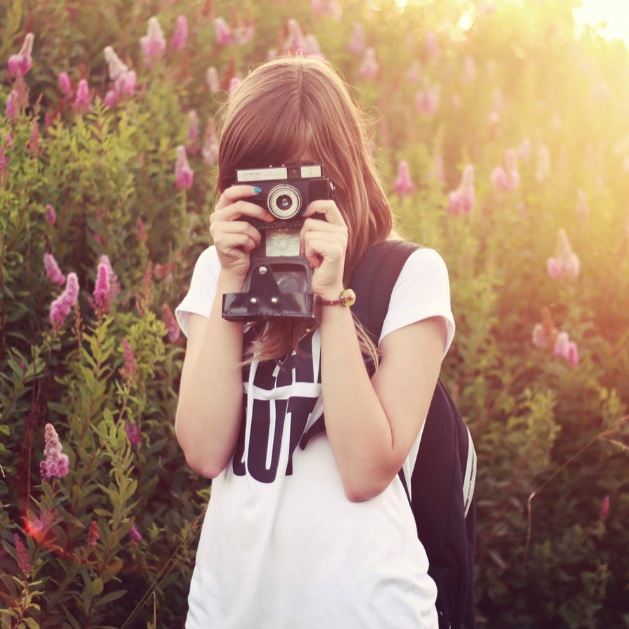 girl, photo, camera, colors, summer