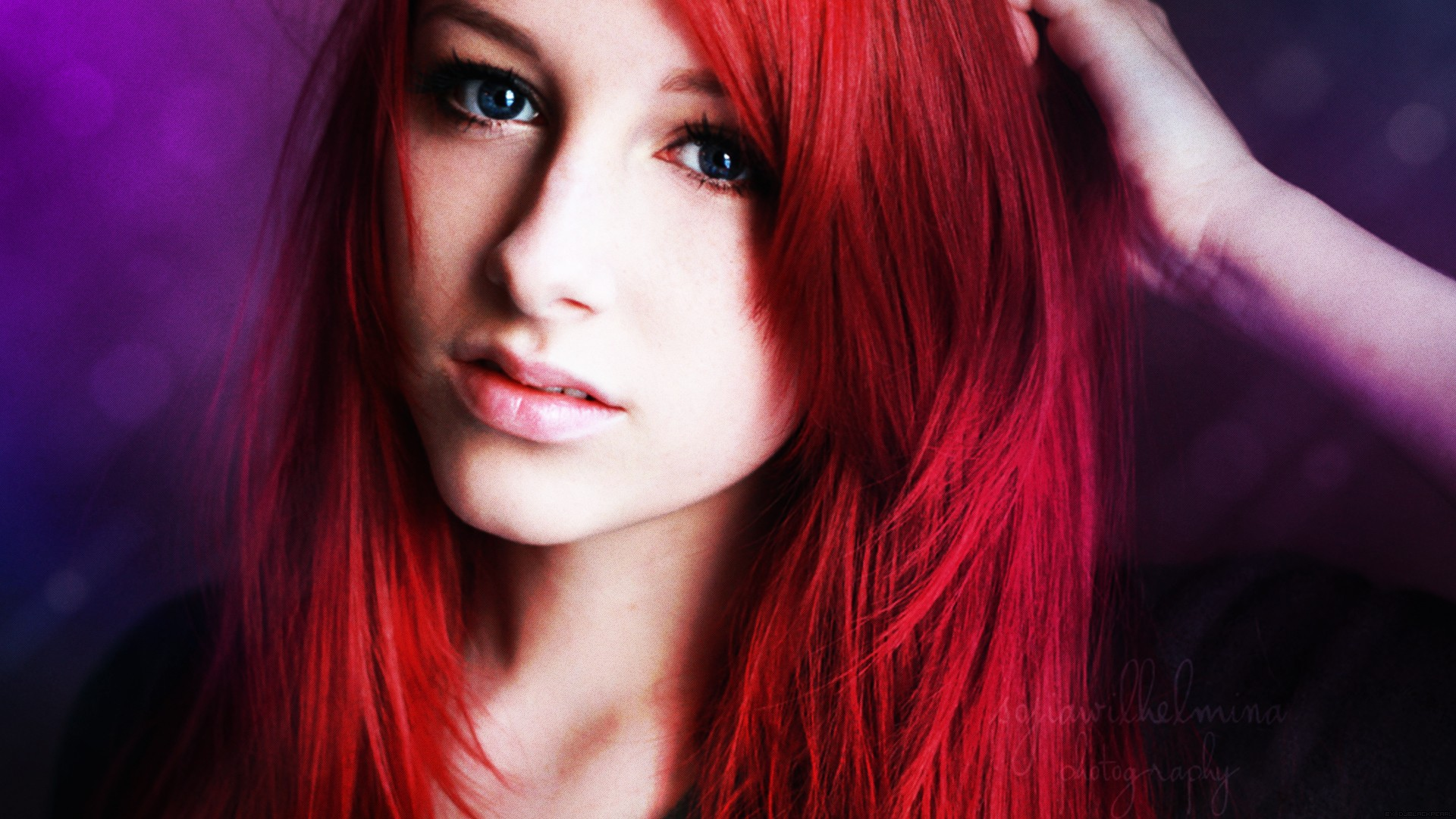 girl, red hair, blue eyes