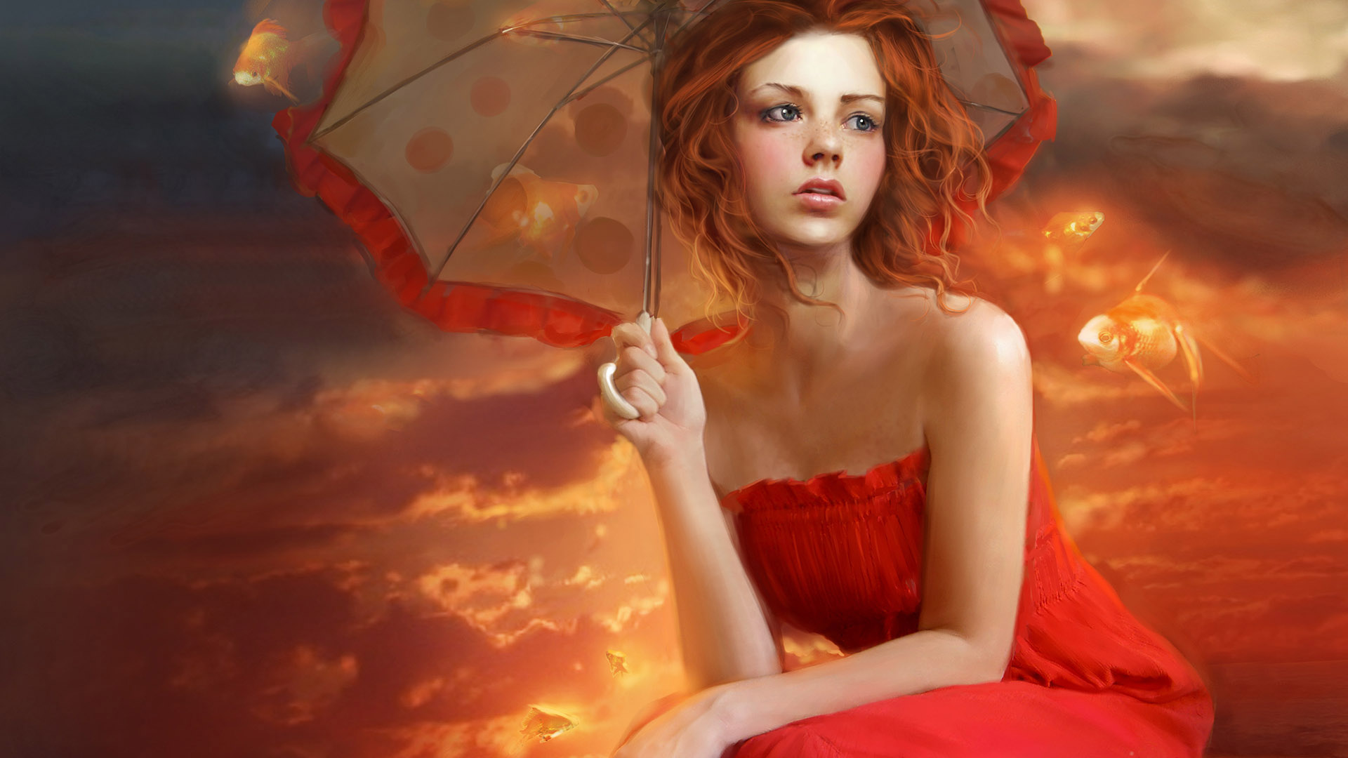 girl, red, umbrella