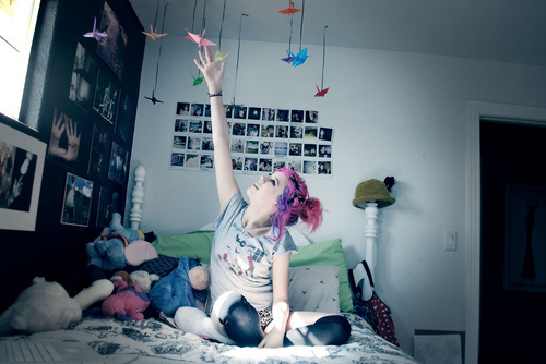 beautiful, bed, cute, fantasy, girl, hair, photo, photography, pink, room, scene