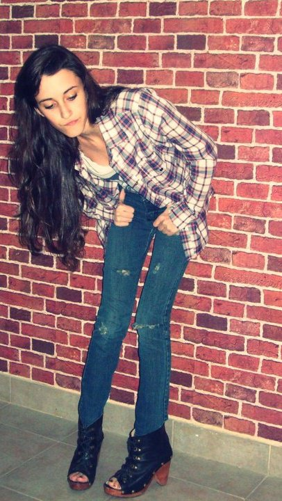 brick, broken pants, girl, punkrock, shirt, wall