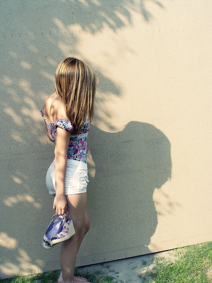 girl, shoes, alone, hair, short