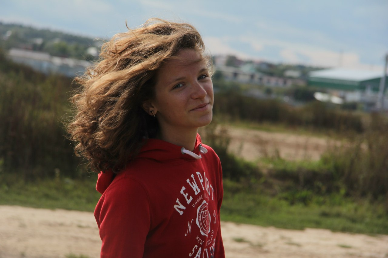 girl, wind, curly, hair, smile