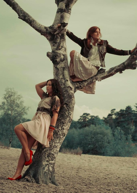 girls, fashion, tree