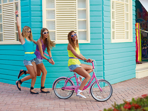 girls, fun, cycle