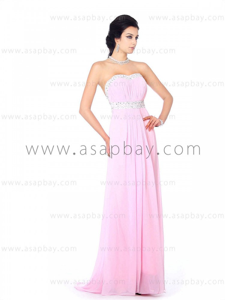 gorgeous elegant beaded draped chiffon sweetheart floor length sheath/column pink evening dress