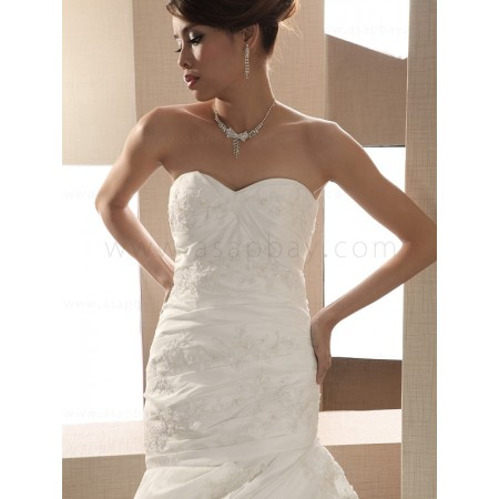 gorgeous elegant chapel train taffeta ivory sweetheart trumpet/mermaid wedding dress