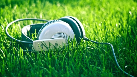 close-up, grass, headphones, music