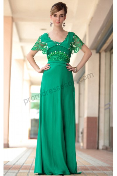 green v-neck lace cap-sleeve chiffon formal evening dress s638