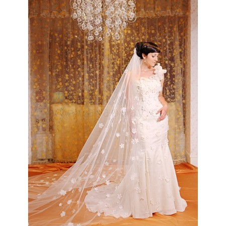 gril adorable organza sweep/brush train one shoulder champagne trumpet/mermaid wedding dress