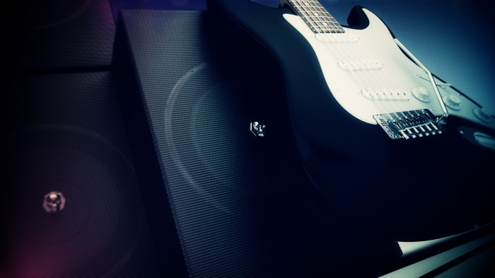 guitar, music, speakers
