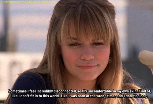 art, beautiful, couple, cute, fashion, hair, haley james scott, one tree hill, one tree hill caps, photography, pretty, quote, subtitles