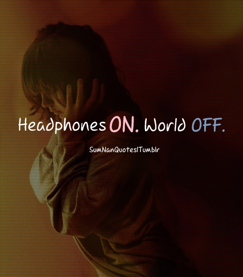 headphones, girl, music, adorable, quote