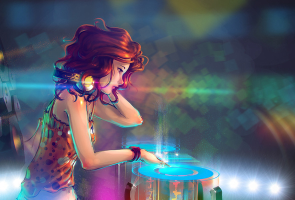 headphones, turntables, lights, dj, girl