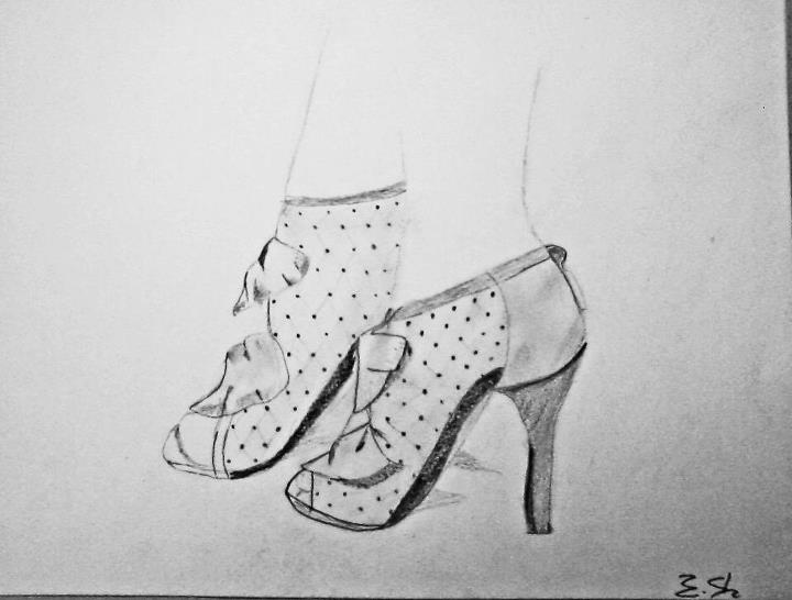 heels, drawing, pencil