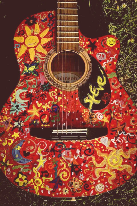 hippie, guitar, music, art, diy