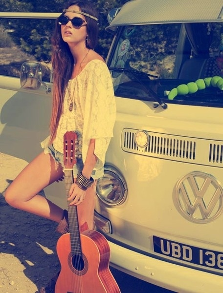 hippie, hipster, headband, guitar, music
