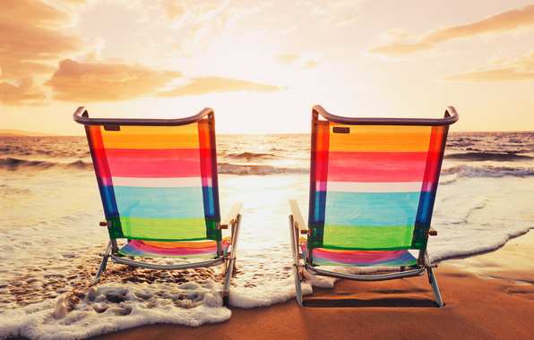 holiday, vacation, chairs, sea, beach