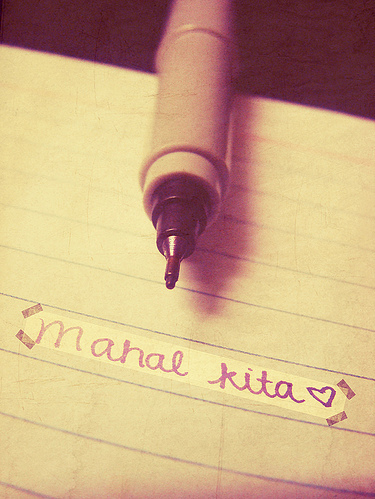 i love you, love, mahal kita, paper, pen
