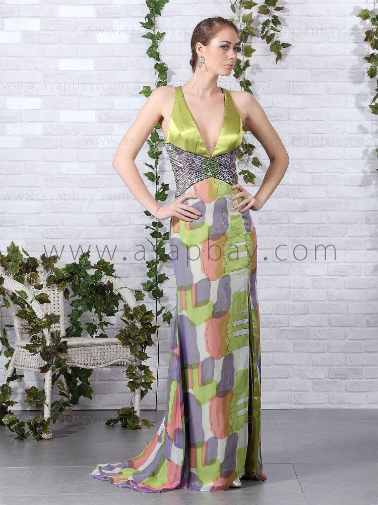 imagine asapbay fashion green v neck court train sheath/column evening dress