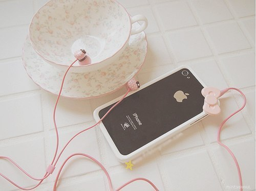 iphone, pink, earphone