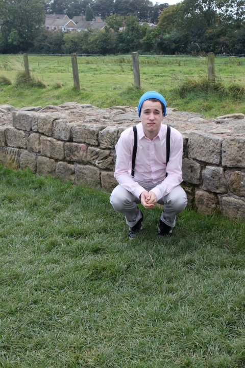 awkward, beanie, boy, boys, cool, cute, fashion, grass, hot, jonno revanche, jxr, macbeth, pink, scenery, style, suspenders
