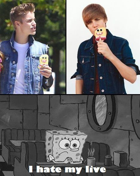 justin bieber, boy, u hate my live, spongebob, cool