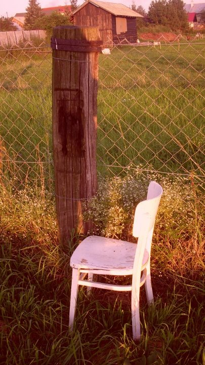 beautiful, chair, fence, flowers, grass, hut, karolina lukacova, nature, old, vintage, white