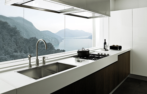 kitchen, mountain, sea