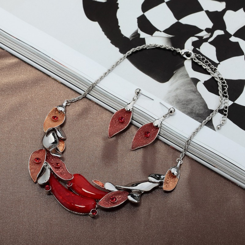color block jewelry set, hand painted jewelry set, leaf hand painted jewelry set and leaf necklace earring set