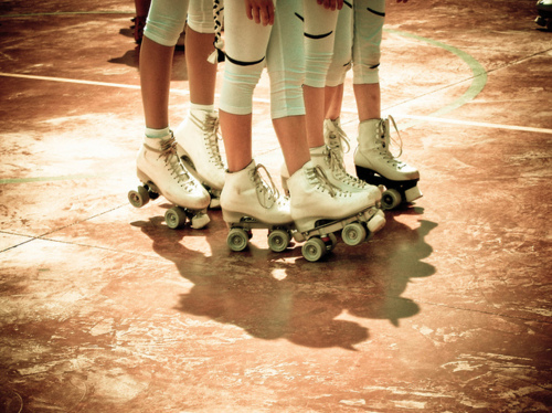 art, beautiful, couple, cute, fashion, hair, legs, photography, pretty, roller blades, roller skates, skates
