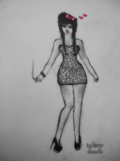 cigarette, draw, high heels, leopard, penny