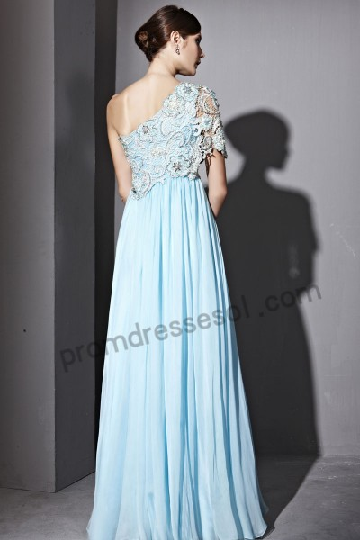 light blue lace tencel evening ball dress by031