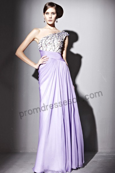 light purple one-shoulder tencel evening party dress by116