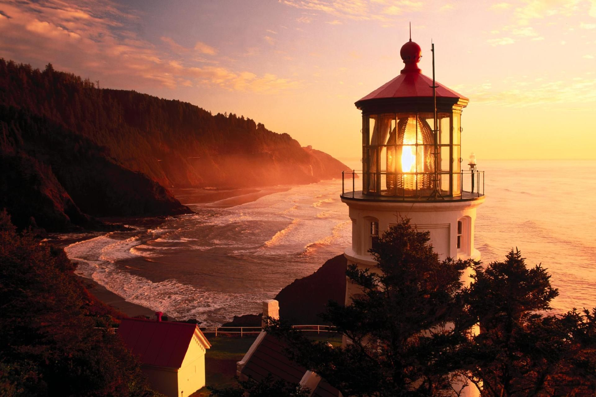 lighthouse, sunrise, the bay, surf, sea