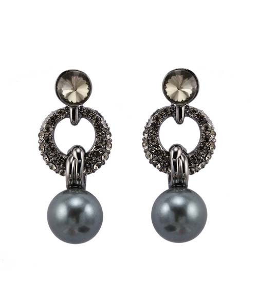 link earrings, black pearl earrings, cz paved earrings, pearl dangle earrings, pearl clip earrings