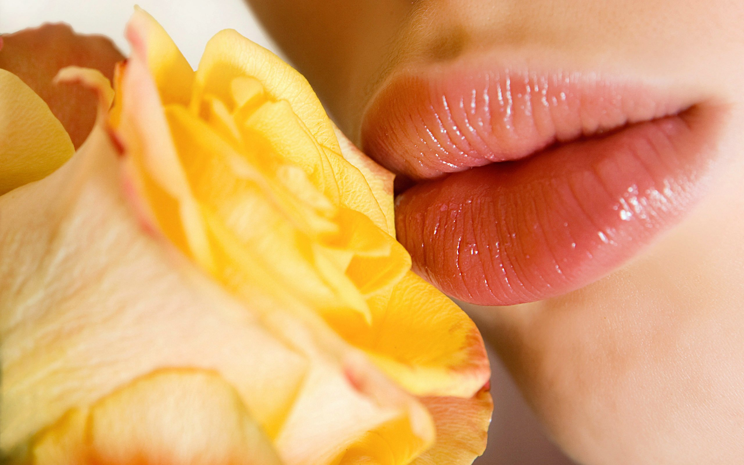lips, girl, rose, close-up