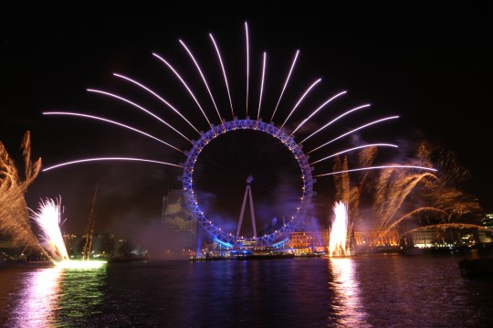london eye, fireworks