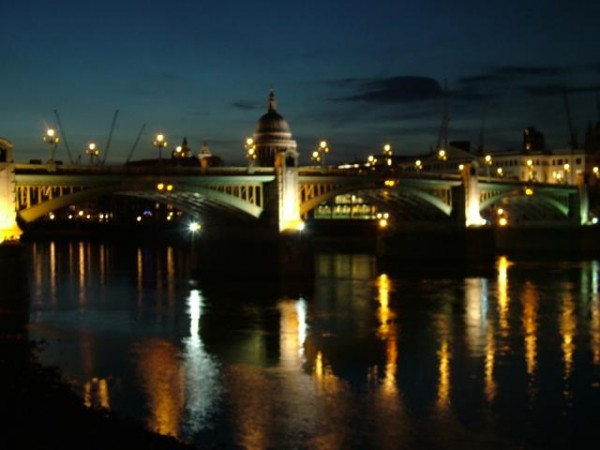 bridge, lights, london, london   night, night, river