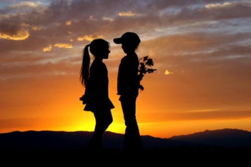 boy and girl, flowers, kiss, love, sunset, sweet