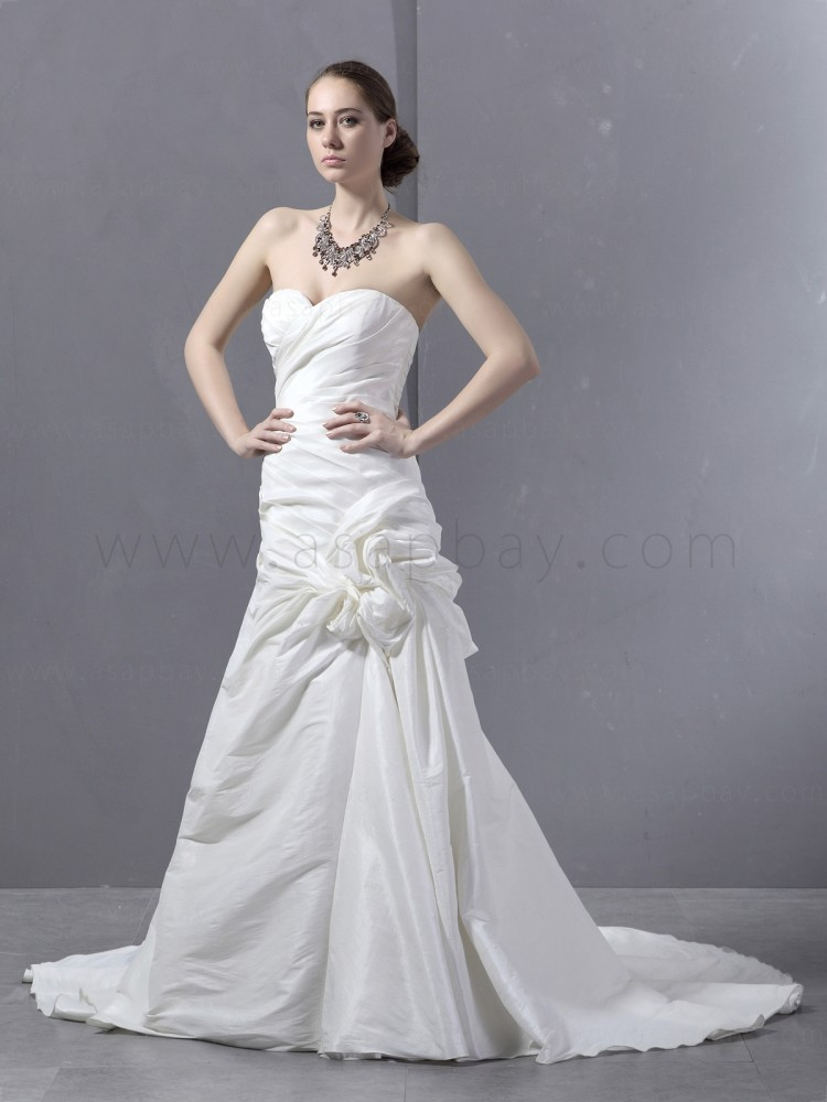 lower classy awesome ivory taffeta trumpet/mermaid sweetheart chapel train wedding dress
