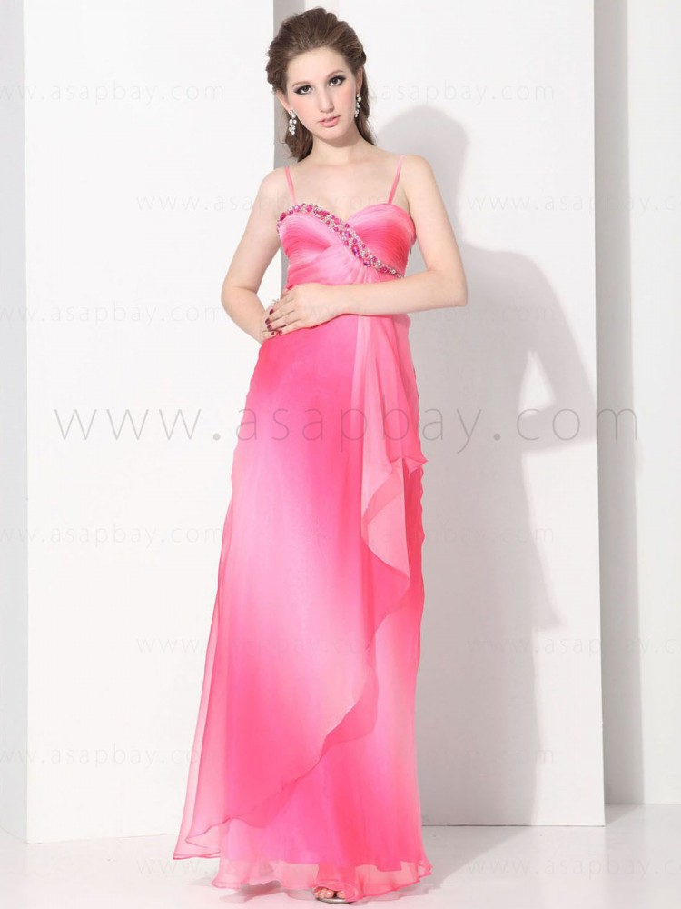 luxury beading adorable princess chiffon spaghetti strap floor length pageant dress