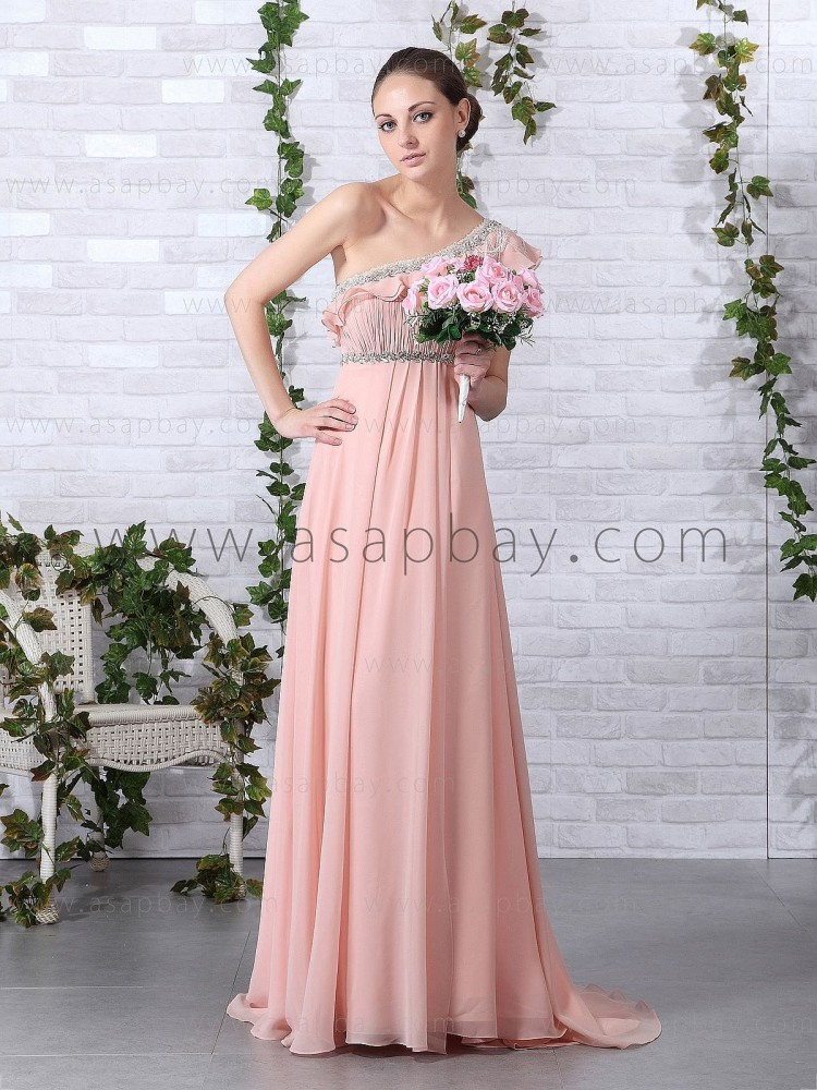 luxury crystal draped pink floor length one shoulder a line chiffon evening dress